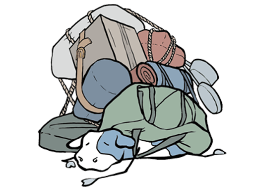 cartoon cow under a pile of baggage