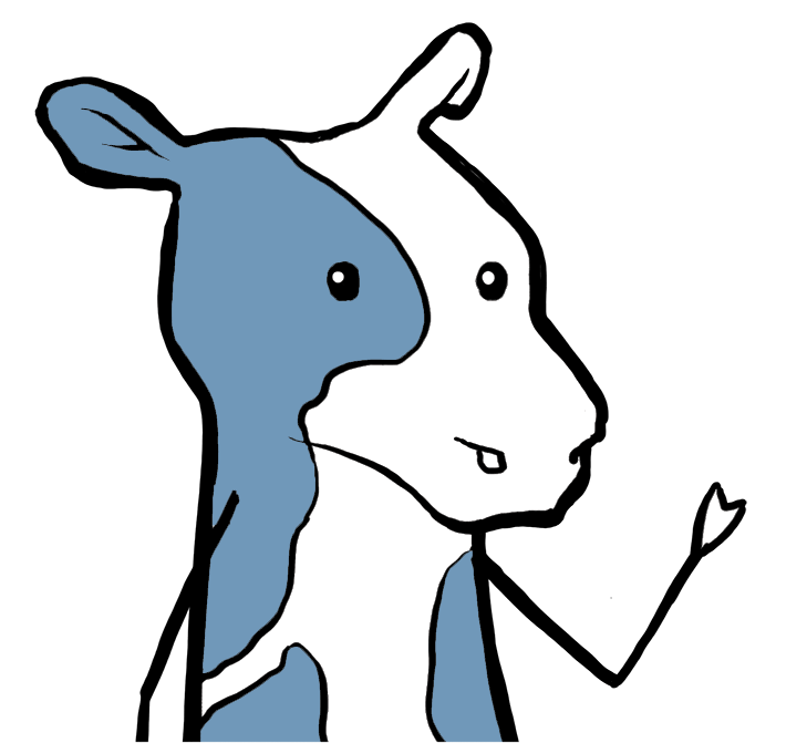 cartoon cow with hand in the air waving