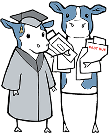 cartoon cow in a cap and gown with a parent holding bills